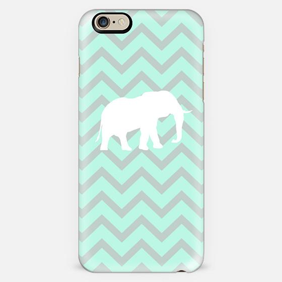 Elephant Chevron Pale Pastel Mint Grey Chevron Pattern -