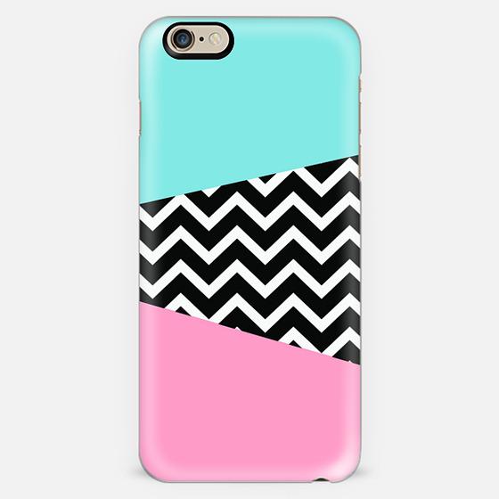 Miami Vice Pastel Chevron Blue Pink Design -