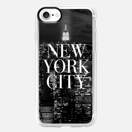 New York City Black and White Vogue Typography Skyline - Wallet Case