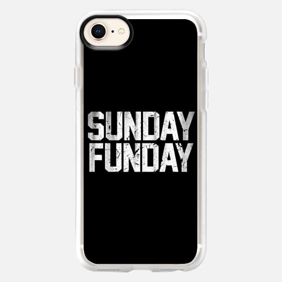 Sunday Funday Dirty Vintage Varsity Typography Print Black - Snap Case
