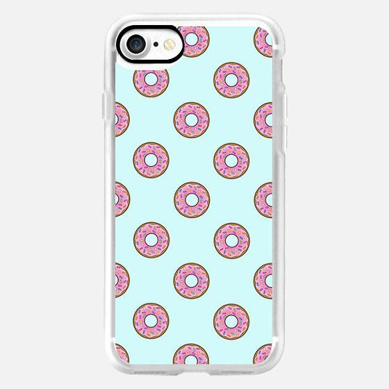 Cartoon Kawaii Blue Sky Pink Donuts Pattern -