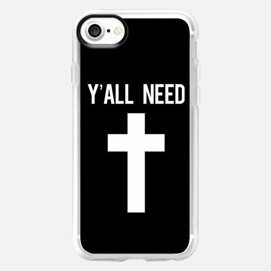 Y'all need Jesus black cross print - Classic Grip Case