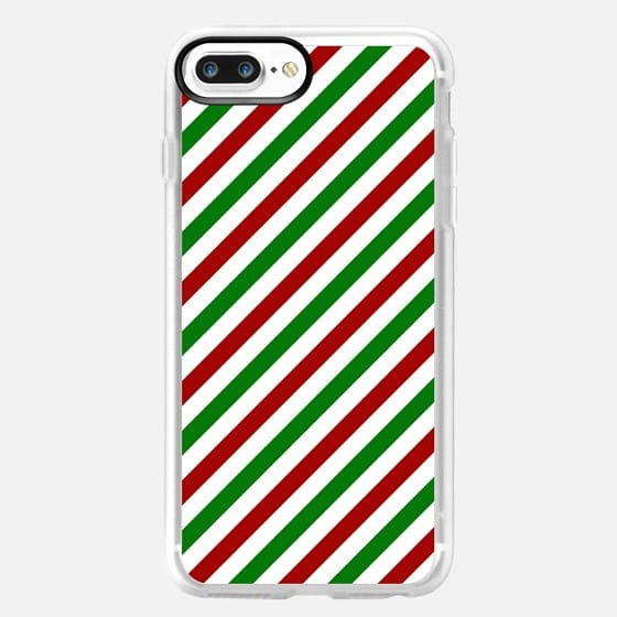 Red and Green Diagonal Holiday X-Mas Stripes Design -