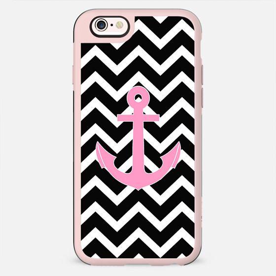 Pink Anchor Black Chevron Pattern -