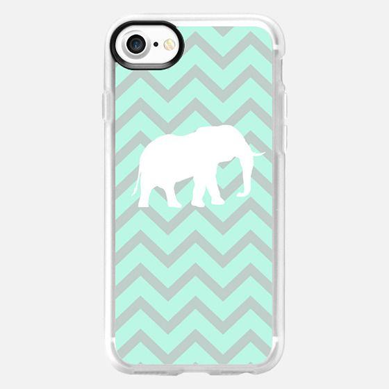 Elephant Chevron Pale Pastel Mint Grey Chevron Pattern - Classic Grip Case