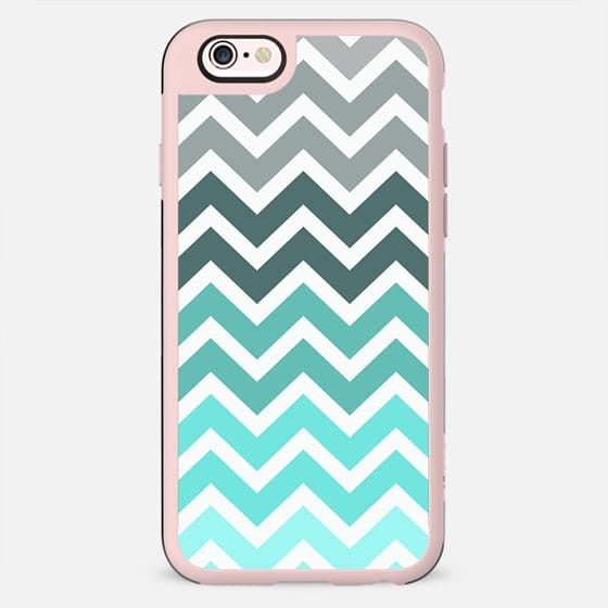 Tiffany Fade Turquoise Blue Chevron Pattern -