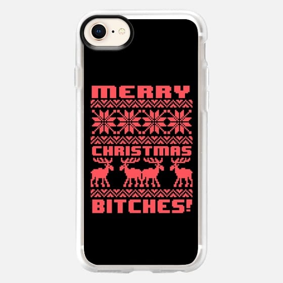 Merry Christmas Bitches 8-Bit Black Vintage Ugly Holiday Sweater Design - Snap Case
