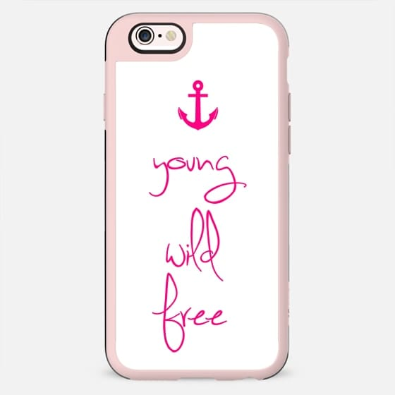 Young, Wild & Free Magenta Pink Anchor Design