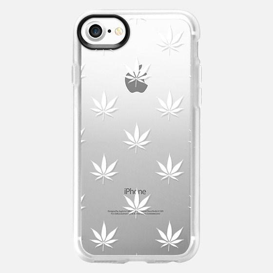 White Cannabis Pattern Transparent - Classic Grip Case