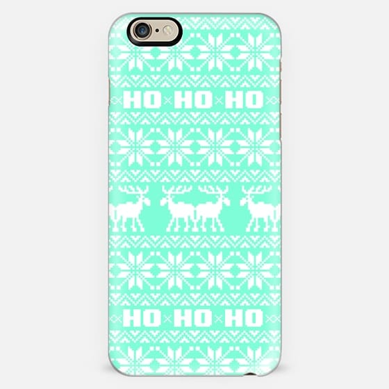 Tiffany Mint Turquoise Ugly Christmas Holiday Elk Vintage Sweater Pattern -