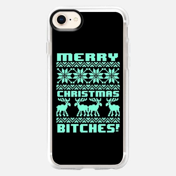 Merry Christmas Bitches 8-Bit Black Tiffany Turquoise Mint Vintage Ugly Holiday Sweater Design - Snap Case