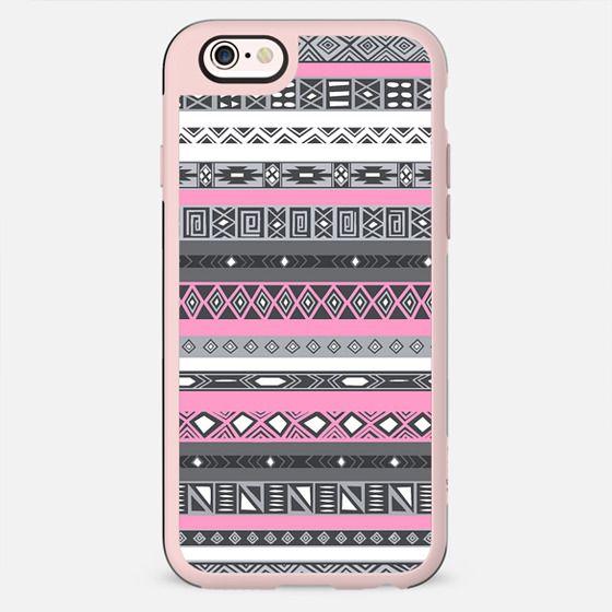Pink Grey Aztec Native Pattern