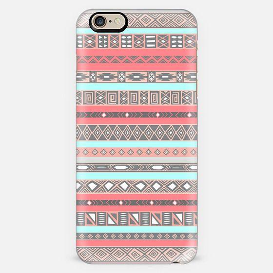 Peach Blue Aztec Tribal Native Pattern iPhone 6 case -