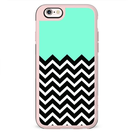 Tiffany Turquoise Black & White Chevron Design