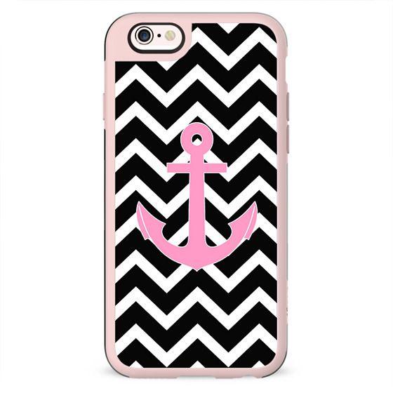 Pink Anchor Black Chevron Pattern