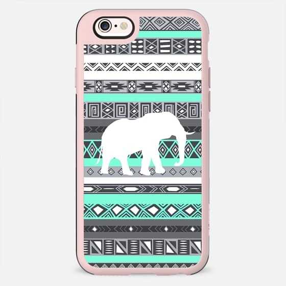 Mint Tiffany Aztec Pattern Elephant Print iPhone 6 Case