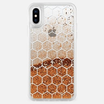iPhone X ケース White Honeycomb Transparent Pattern