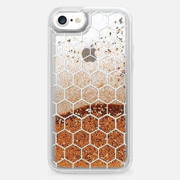 iPhone 7 Case White Honeycomb Transparent Pattern