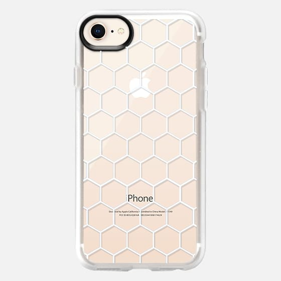 White Honeycomb Transparent Pattern - Glitter Case
