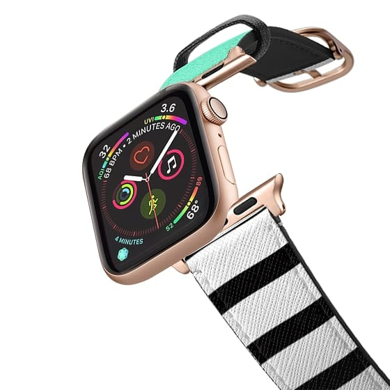 Apple Watch 42mm Bands - Tiffany Mint Turquoise White Stripes New Wave Pop Design