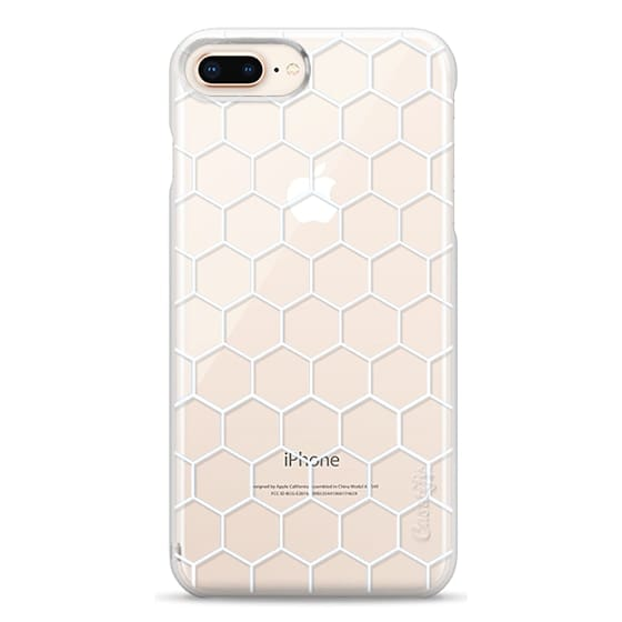 iPhone 8 Plus Cases - White Honeycomb Transparent Pattern