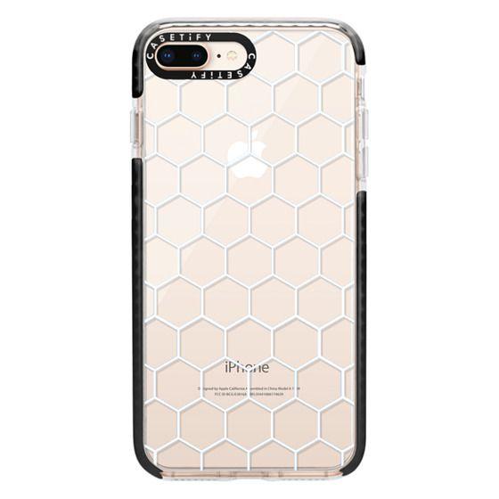 iPhone 8 Plus Cases - White Honeycomb Transparent Pattern