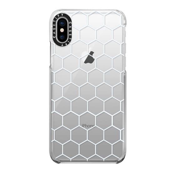 iPhone X Cases - White Honeycomb Transparent Pattern