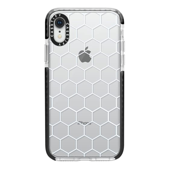 iPhone XR Cases - White Honeycomb Transparent Pattern