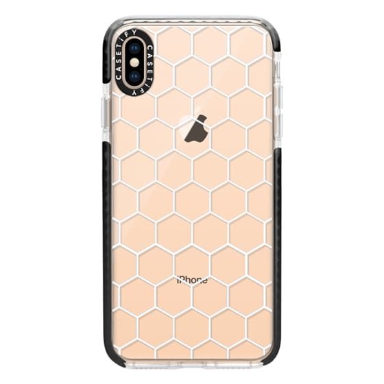 iPhone XS Max Cases - White Honeycomb Transparent Pattern
