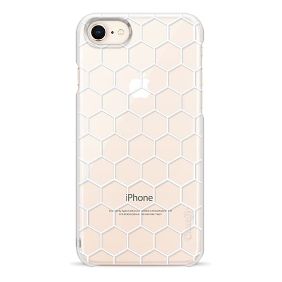iPhone 8 Cases - White Honeycomb Transparent Pattern