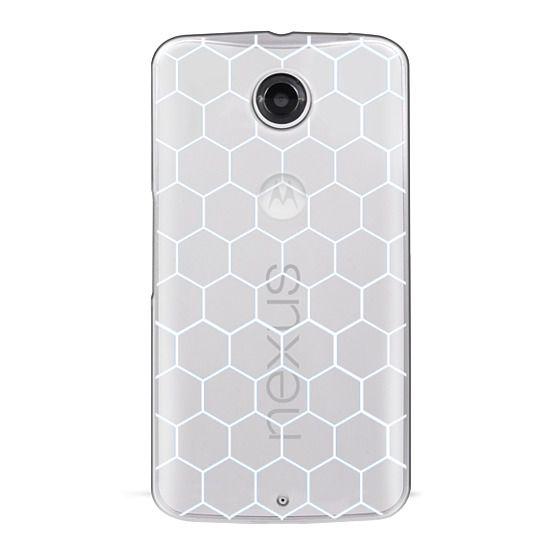 Nexus 6 Cases - White Honeycomb Transparent Pattern