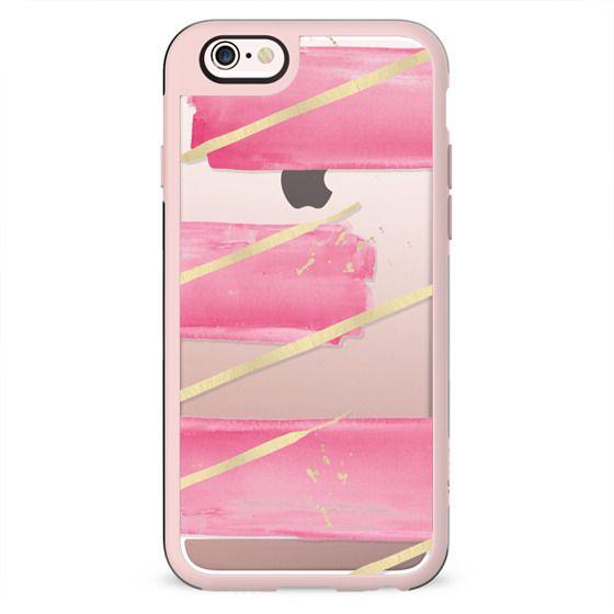 Pink Girly Watercolor Brushstrokes Gold Splatter Stripes