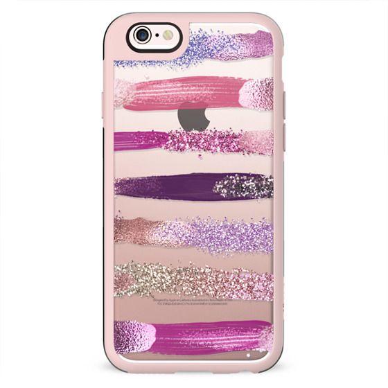 Pink Purple Girly Faux Glitter Metallic Paint Brushstrokes Stripes