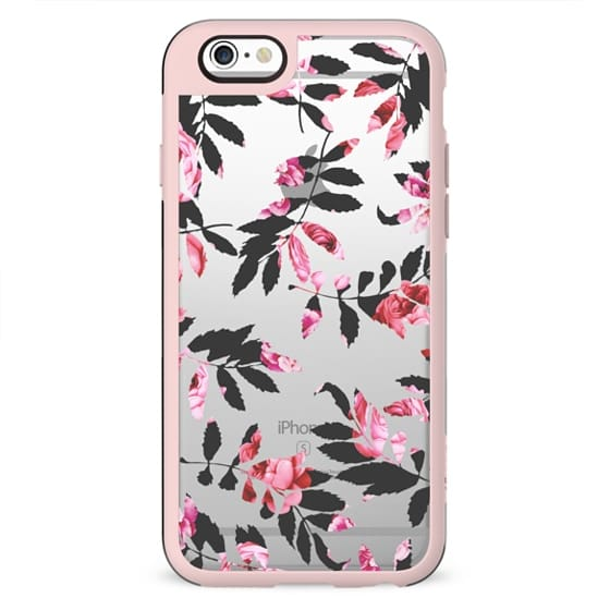 Modern Girly Blush Pink Black Floral Clipped Leaves