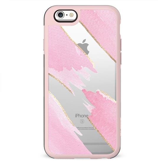Girly Chic Pink Watercolor Giant Brushstrokes Faux Gold Outline