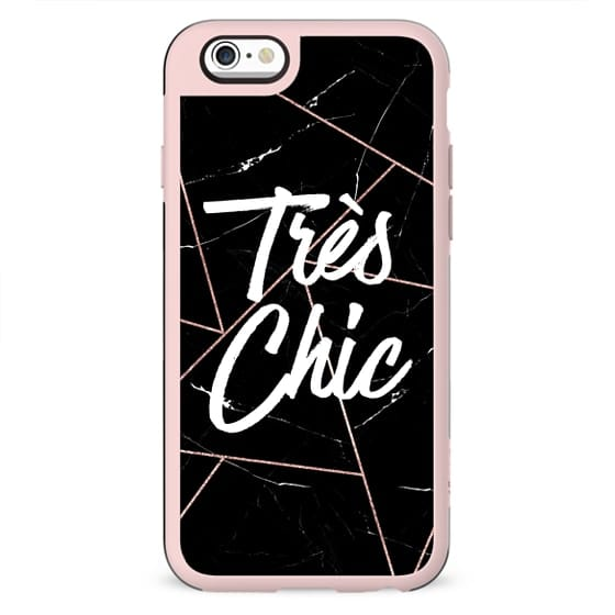 Tres Chic French Quote Black Marble Rose Gold Geometric Triangles