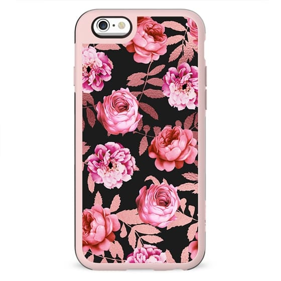 Girly Modern Blush Pink Flowers Faux Rose Gold Leaves Black