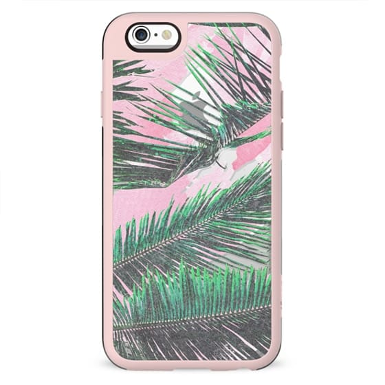 Girly Watercolor Washed-out Tropical Leaves Pink Brushstrokes