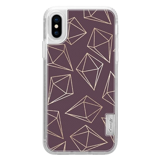iPhone 6s Cases - Glamorous Geometric Faux Gold Diamonds and Girly Purple
