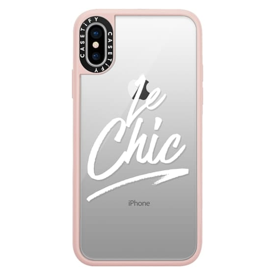 iPhone X Cases - Le Chic Brushstroke French Quote Typography White