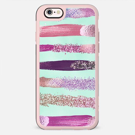 Pink Purple Girly Faux Glitter Metallic Paint Brushstrokes Mint Teal - New Standard Case