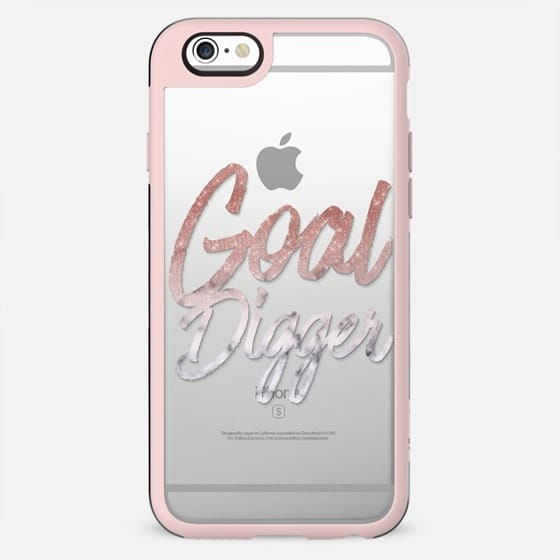 Goal Digger Rose Gold Sequin Glitter Marble Ombre Typography - New Standard Case