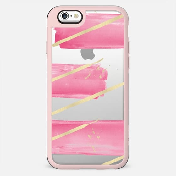 Pink Girly Watercolor Brushstrokes Gold Splatter Stripes