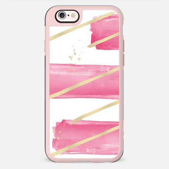 Pink Girly Watercolor Brushstrokes Gold Splatter Stripes - New Standard Case