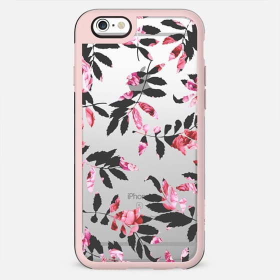 Modern Girly Blush Pink Black Floral Clipped Leaves - New Standard Case