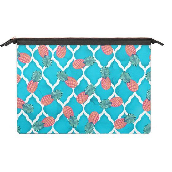 MacBook Pro Touchbar 13 Sleeves - Tropical Pink Watercolor Hand Painted Pineapple Blue Quatrefoil Pattern