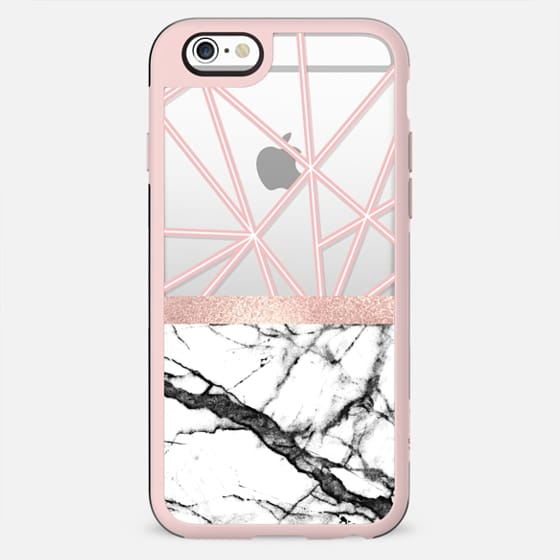 Rose Gold Marble Blush Pink White Geometric Triangles - New Standard Case
