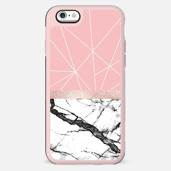 Girly Rose Gold Marble Blush Pink White Geometric Triangles