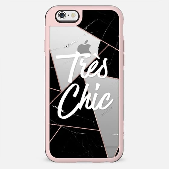 Tres Chic French Quote Black Marble Rose Gold Geometric Triangles Clear - New Standard Case