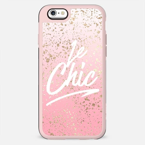 Le Chic French Quote Pink Ombre Faux Gold Abstract Speckles